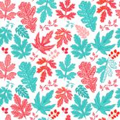 Coral Turquoise Leaves