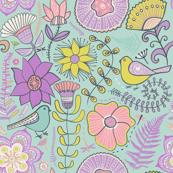 Lavender Floral Birds