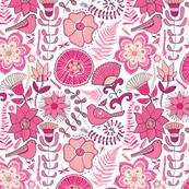 Pink Floral Birds