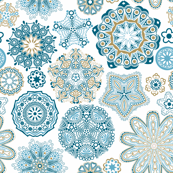 Blue Snowflake Doilies