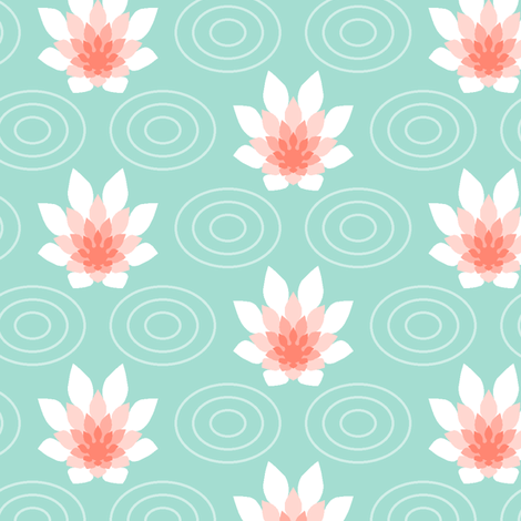 flame flower ripple - coral mint