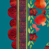 Pomegranates Border 1 on Teal