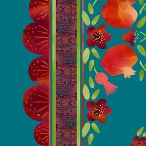 Pomegranates Border 1 on Teal