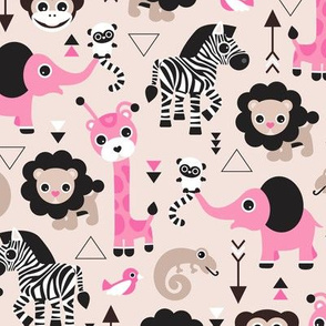 Geometric jungle zoo safari animals adorable kids design for girls black white pink and beige
