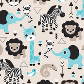 Geometric jungle zoo safari animals adorable kids design for boys black white blue and beige