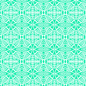 Fish Lace Circles Aqua White