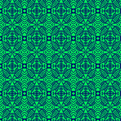 Fish Lace Circles Green Navy