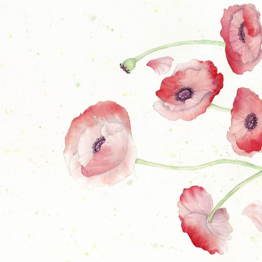 Watercolor Poppy border print -  version 1