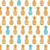 Cute tropical summer bikini pineapple print orange and aqua blue illustration pattern