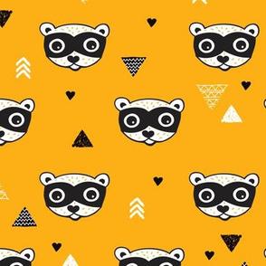 geometric woodland animals raccoon gender neutral illustration print orange