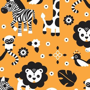 Oriental circus animals zoo theme with giraffe lion monkey elephant zebra and birds orange illustration pattern for kids