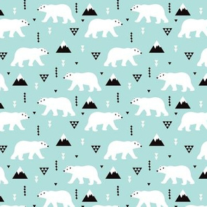 Cute polar bear winter mountain geometric triangle print XS
