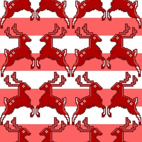 Pixel Deer Christmas Stripe