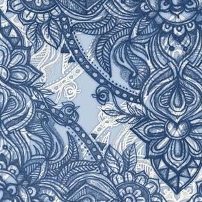 Denim Blue Lace Pencil Doodle