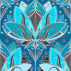 Art Deco Lotus Rising in Teal, Turquoise & Black