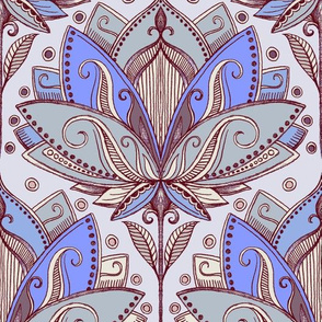 Art Deco Lotus Rising in Purple & Grey