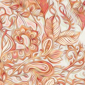 Autumn Peach Art Nouveau Pattern