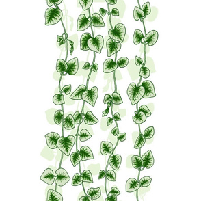 Chain of Hearts in Green on White, Wide