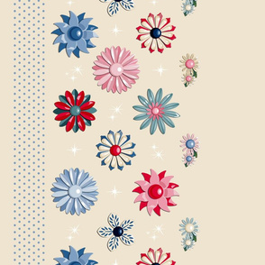 Jackie Border Print (Neutral/Red/Blue)