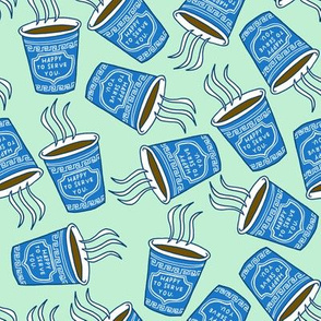 greek coffee cups on mint