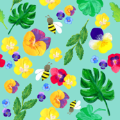 Pansy and bee