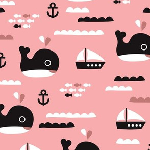 Cute pink ocean whale and deep sea sailing boat and anchor fish theme illustration print XL