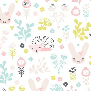 Adorable spring blossom flower garden bunny and hedgehog illustration print for little girls