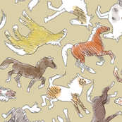Wild Horses, Tinted on Beige