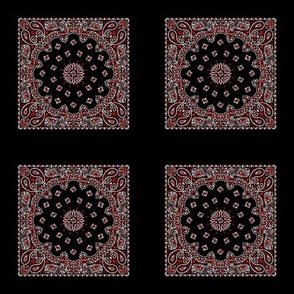 Playscale Bandanna-Paisley Round-Black With White and Primary Red Pattern