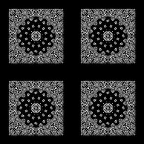 Playscale Bandanna-Paisley Round-Black With White Pattern