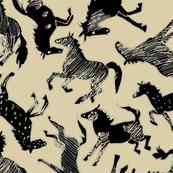Black Wild Horses on Sand