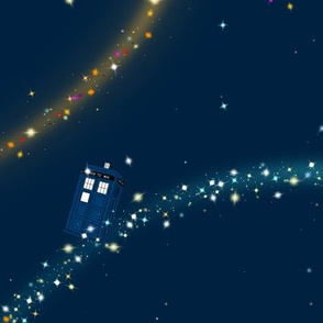 galaxy and police boxes