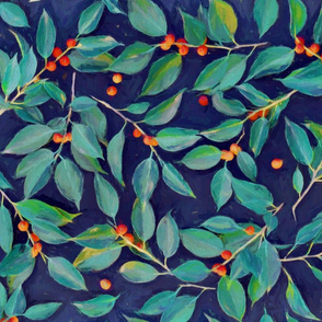 Leaves + Berries in Navy Blue, Teal & Tangerine
