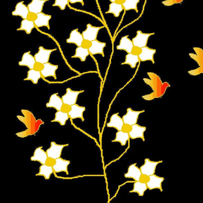 Fire Birds & White flowers (yard)