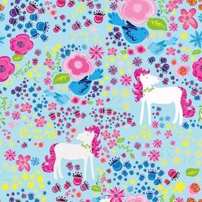 Unicorn Floral Rainbow Colors on Blue background