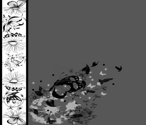Black White Floral Border Print