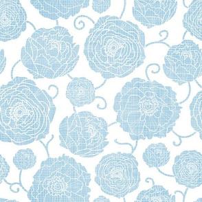 Blue Textured Peony Flowers