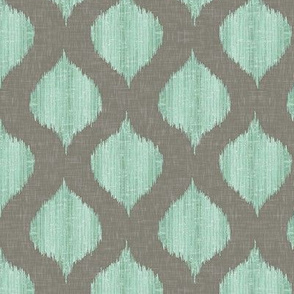 Small Scale Lela Ikat in Gray and Aqua