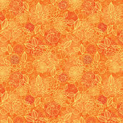 Golden orange floral texture seamless pattern