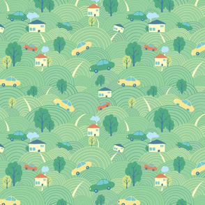 Landscape cartoon seamless pattern