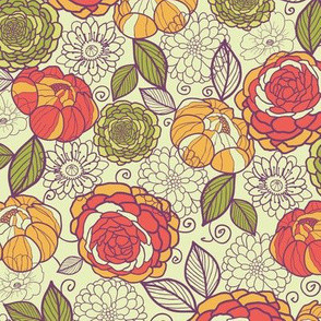 Garden peony flowers and leaves seamless pattern
