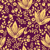 Wooden flowers seamless pattern