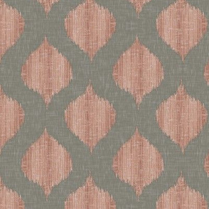 Small Scale Lela Ikat in Gray and Coral