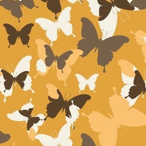 butterflies in browns-yellows