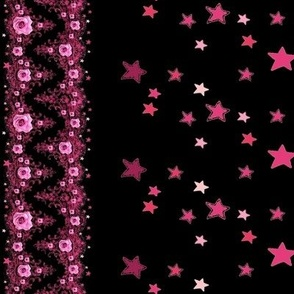Pink roses lace and stars on black {Mother's Day Floral Border Contest}
