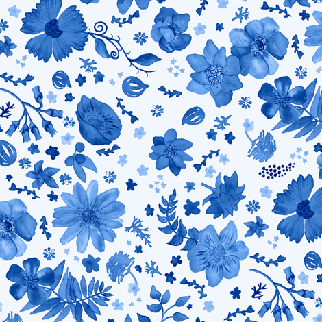 Painted Blue Flowers