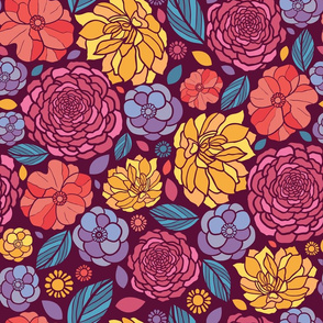 Summer Flowers Seamless Pattern