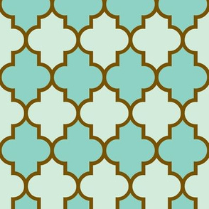 Quatrefoil Aqua Seafoam Brass