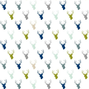 Navy Gray Green Deer Silhouettes