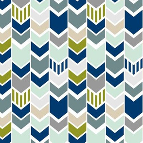 Navy Gray Green Chevron half scale